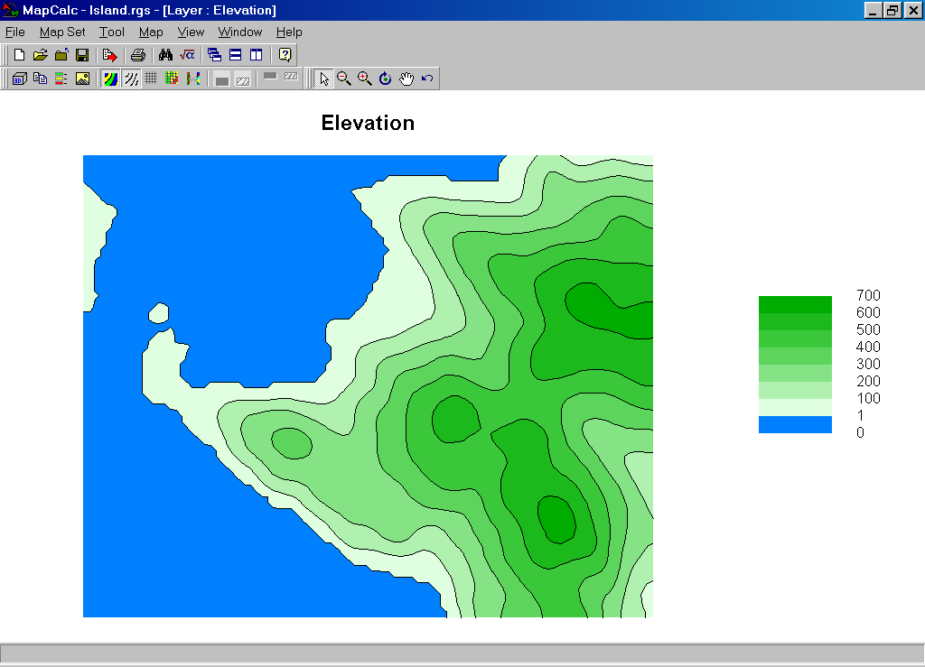 MapCalc Shading Manager Options - Map with elevation data